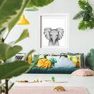 Personalized Elephant Calf Wall Art - Cute Safari Black and White Print for Animal Lovers - Modern Nursery Room Décor -Newborn Animal Prints