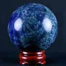 47MM Natural Blue Polished Sodalite Crystal Sphere Ball Orb Mineral Healing Stand