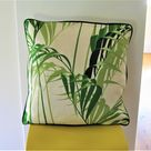 Sanderson Palm House, botanical green and cream cotton and linen mix cushion cover, throw pillow cover, home decor.
