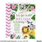 Girls Wild Jungle Theme Birthday Party Invitation   Zazzle.com.au