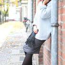 cubus light blue jumper + boohoo jersey midi skirt + topshop booties