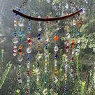 Rainbow Spiral Sun Catcher Glass Bead Wind Spinner  Bohemian   Etsy