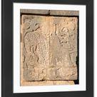 Large Framed Photo. Mayan Carving: Eagle Eating Heart
