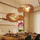 Vintage Pendelleuchte E27 Kronleuchter Retro Industrial Pendellampe Natürlichen Bambus Gewebt Hängeleuchten Höhenverstellbar Hängelampe Esszimmer Studie Wohnzimmer Cafe Wohnzimmer Lampe,50cm