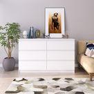 GLmeble Kommode mit SECHS Schubladen für Wohnzimmer Schlafzimmer Garderobe Weiß