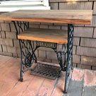 Artikel ähnlich Reclaimed Barn Wood Tisch auf antiken Singer Nähmaschinenstän... #diy-mobel-home-remodel