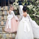 Lace Flower Girl Dress, Long Sleeve Lace, Satin and Tulle Flower Girl Dresses with Big and Puffy Custom color Tulle Skirt. Custom sizes.