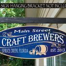 Beer Keg Craft Brewers Brewery Sign Custom Bar Sign Beer Enthusiast Gifts Custom Personalized Painted Sign - \D\ 12x30 Inch Painted Both Sides