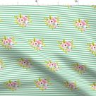Floral Stripe Fabric - Horizontal Stripe Floral Light Green Small By Ajoyfulriot - Girl Nursery Cotton Fabric By The Yard With Spoonflower