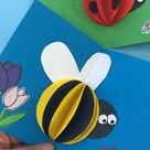 Pop Up Bee Card - Red Ted Art