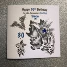 Happy Birthday card 21st/30th/ 40th/ 50th../ Uncle/ Dad/ Brother/ Son/ Cousin/Sister/ Friend/ Tatoo style/ handmade and personalised