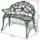 """ZNTS Garden Bench 39.4"""" Cast Aluminium Green 42166"""