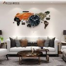 Large World Map Stickers Wall Clock - Colorful74X34CM / China
