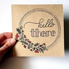 Hello There Card  Hand-drawn Wreath  Hand Lettered  Kraft | Etsy in 2020 | Hand lettering cards, Sim