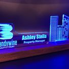 Personalized Construction Industry LED light desk name plate and business card holder.  Wood and Acrylic.