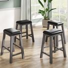 4-Pieces Counter Height Dining Stools With Wood Leg, Dining room (Grey), Gray