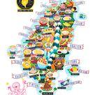 Taiwan Street Food Map Postcard. Illustrated map of Taiwan A6 size