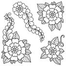 Set Of Mehndi Flower. Decoration In Ethnic Oriental, Indian Style. Doodle Ornament. Outline Hand Draw Illustration.