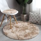RULDGEE Pink Shaggy tie-dye Round Carpet Colorful Fluffy Alfombra Circles Coffee Table Blanket Bedroom Hanging Basket Yoga Rug - Khaki / Diameter 1m