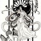 Dessin inspiration art nouveau3 - Art Nouveau Coloring Pages for Adults - Just Color - Page 2