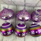 Purple Glitter Multicolor Christmas Ornaments Lot Of 6 Plastic  | eBay