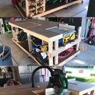 Reddit - Workbenches - 4x8 Mobile workbench with gas spring hinged miter saw. Automatic dust collection was fun to design.