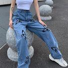 Butterfly Print Slim Down Wide-Leg Jeans - Black L