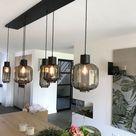 Hanglamp LUCCA 6-lichts op balk | Drie verschillende geribbelde rookglazen