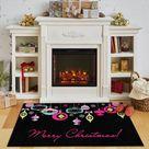 The Holiday Aisle® Triplett Bright Ornaments Black Area Rug Black 30.0 x 18.0 x 0.44 in, Polyester   Wayfair Canada