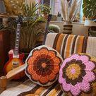Crochet Cushion - Flower Power Spice
