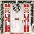 Nutcracker Christmas Decorations - Outdoor Xmas Decor - Life Size Soldier Model Nutcracker Banners for Front Door Por...
