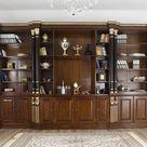Bücherregal Imperiale Englischer Stil ministerial walnuss und Blattgold schwarze Spalten  - Simone Guarracino | Luxury Design