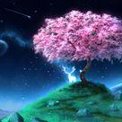 HD wallpaper: Anime, Original, Deer, Planet, Shooting Star, Starry Sky, Tree