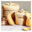 A L E X I S  |  Seagrass Basket With Lid - (Set of 2)
