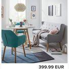 Moerteens Diningsofa Kamma 2 Sitzer Hellgrau Webstoff 158x90x68 cm