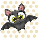 Cartoon Bat On A Dots Background Stock Vector - Illustration of spooky, computer: 198213760