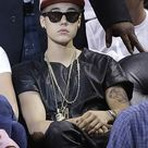 Justin Bieber Wore A Leather Shirt And Indoor Sunglasses To The Heat-Pacers Game