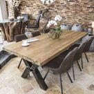 Esstisch aus recyceltem Holz mit Rohstahl - Der Tischonkel