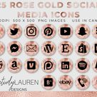25 Social Media Icons | Rose Gold Social Media Icons, Social Media Buttons, Blog Icons, Website Icons, Rose Gold Icons | Instant Download
