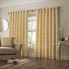 Paoletti Horto Eyelet Curtains (Ochre Yellow) (46in x 56in)