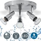 B.K.Licht LED Deckenspot Aurel, GU10, Warmweiß, LED Deckenstrahler Badlampe IP44 Badezimmer Deckenleuchte Lampe GU10