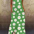 Women's A-Line Dress Maxi long Dress Sleeveless Sun Flower Floral Print Summer Hot 2021 Purple Yellow Blushing Pink Light Green Light Blue S M L XL XXL 3XL 2021 - US $20.89