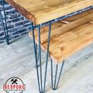 Reclaimed Dining Table - Indoor & Outdoor Table - With Industrial Hairpin Legs Thick Top Choice Of Sizes and Colours
