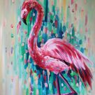 Flamingo prints wall art- flamingo print- pink-abstract art- giclee print- pink flamingo art- tropical decor- tropical gifts- tropical print