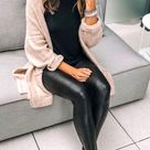 Faux Leather Leggings Outfit With Cardigan Sweater