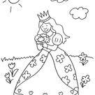 Kostenlose Malvorlage Prinzessin: Prinzessin pflückt Blumenstrauß zum Ausmalen
