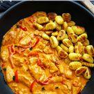 Paprika Sahne Hähnchen mit Gnocchi, einfaches Rezept