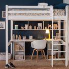 Lit mezzanine ado 2 places avec bureau Cancun  Blanc 120x190 cm/Opt:Bureau en longueur