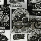 Fat Quarter Vintage Motorcycle Signs Black 100% Cotton Quilting Fabric