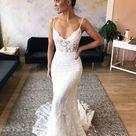 Spaghetti Straps Sweep Train Lace Appliques Mermaid Wedding Dress OW454